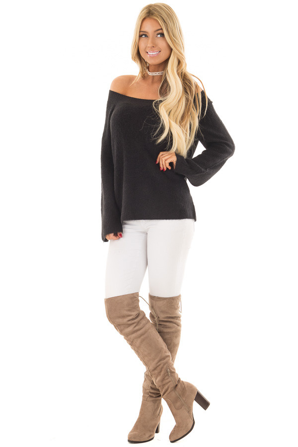 Black Off the Shoulder Long Sleeve Sweater front full body