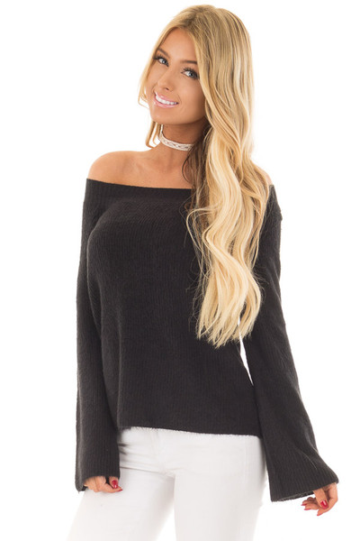 Black Off the Shoulder Long Sleeve Sweater front close up