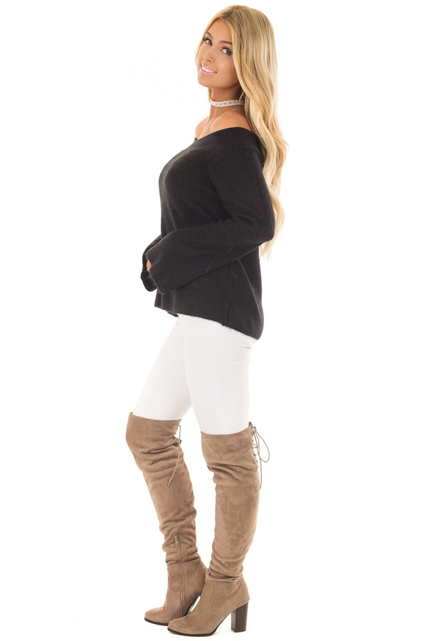 Black Off the Shoulder Long Sleeve Sweater side full body