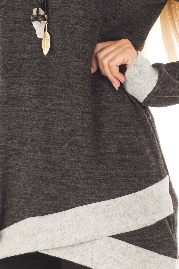 Ash Grey Tunic with Heather Grey Trim Contrast detail