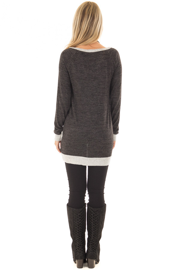 Ash Grey Tunic with Heather Grey Trim Contrast back full body