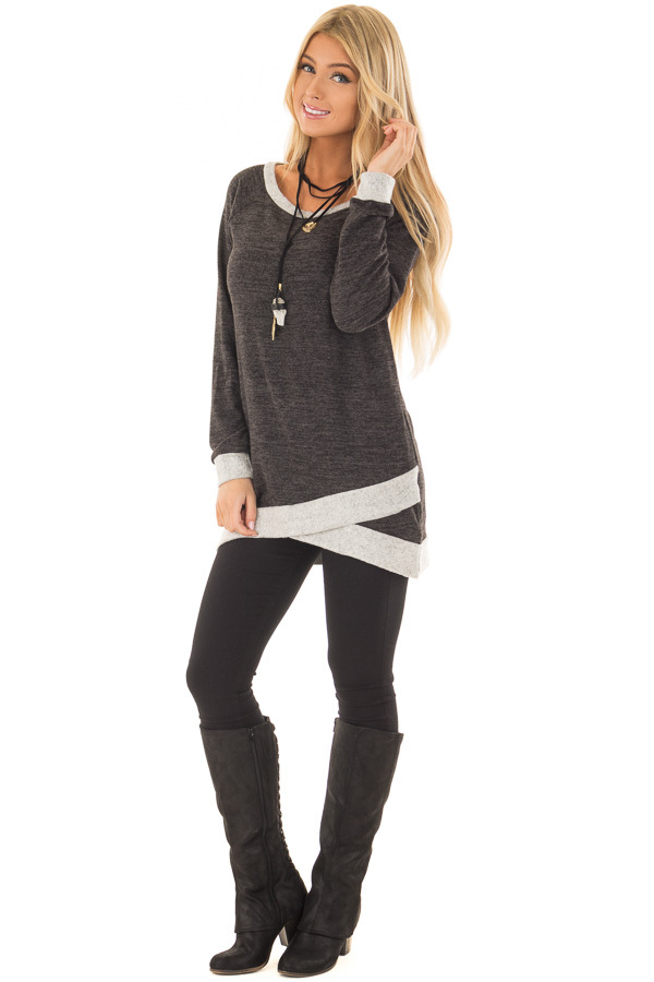 Ash Grey Tunic with Heather Grey Trim Contrast front full body