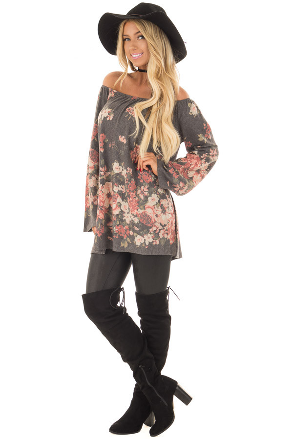 Charcoal Floral Print Off the Shoulder Top front full body