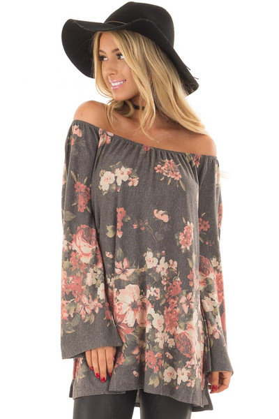 Charcoal Floral Print Off the Shoulder Top front close up
