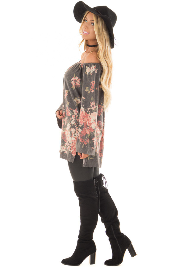 Charcoal Floral Print Off the Shoulder Top side full body