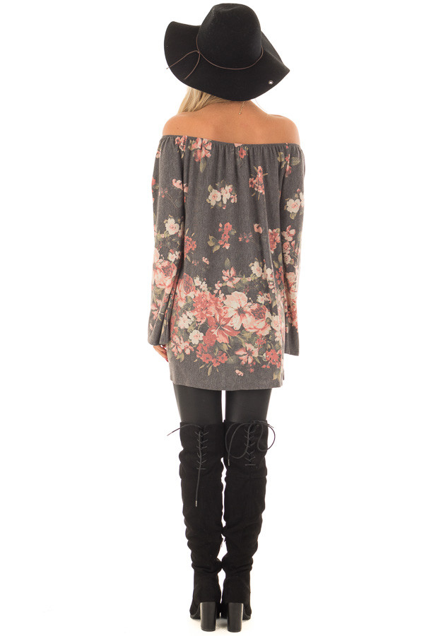 Charcoal Floral Print Off the Shoulder Top back full body