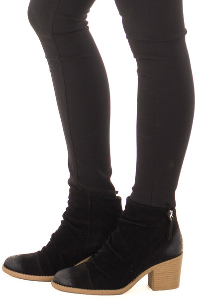 Black Slouchy Heeled Bootie with Hidden Zipper side view