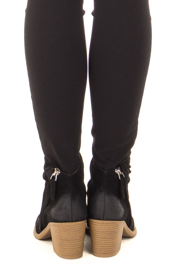 Black Slouchy Heeled Bootie with Hidden Zipper back view