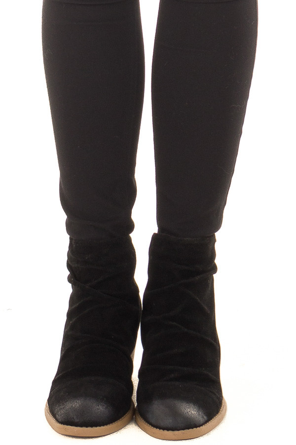 Black Slouchy Heeled Bootie with Hidden Zipper front view