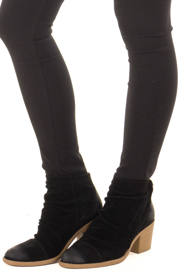 Black Slouchy Heeled Bootie with Hidden Zipper front side view