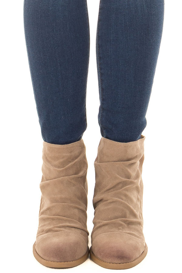 Taupe Slouchy Heeled Bootie with Hidden Zipper front view