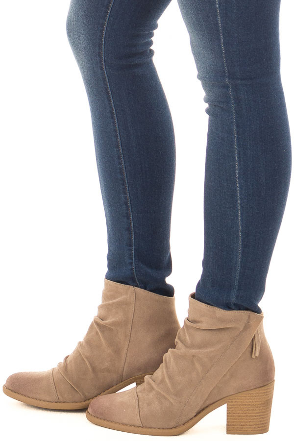 Taupe Slouchy Heeled Bootie with Hidden Zipper side view