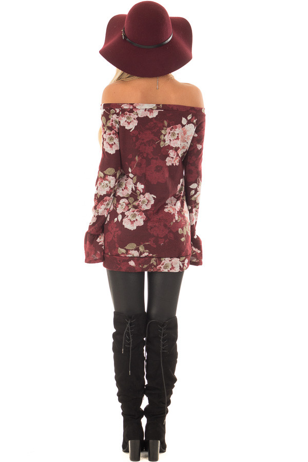 Burgundy Floral Print Off the Shoulder Top with Bell Sleeves back full body
