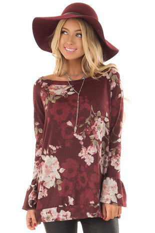 Burgundy Floral Print Off the Shoulder Top with Bell Sleeves front close up