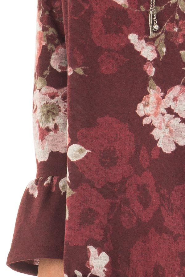 Burgundy Floral Print Off the Shoulder Top with Bell Sleeves detail