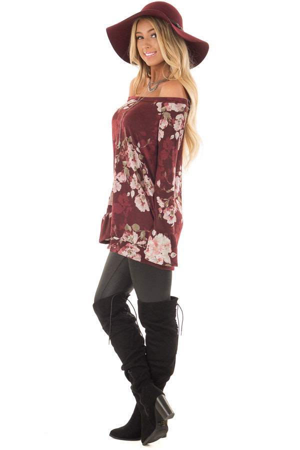 Burgundy Floral Print Off the Shoulder Top with Bell Sleeves side full body