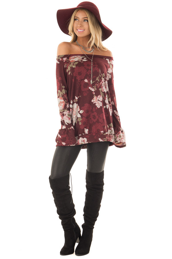 Burgundy Floral Print Off the Shoulder Top with Bell Sleeves front full body