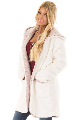 Ivory Faux Fur and Light Burgundy Reversible Comfy Cardigan front close up