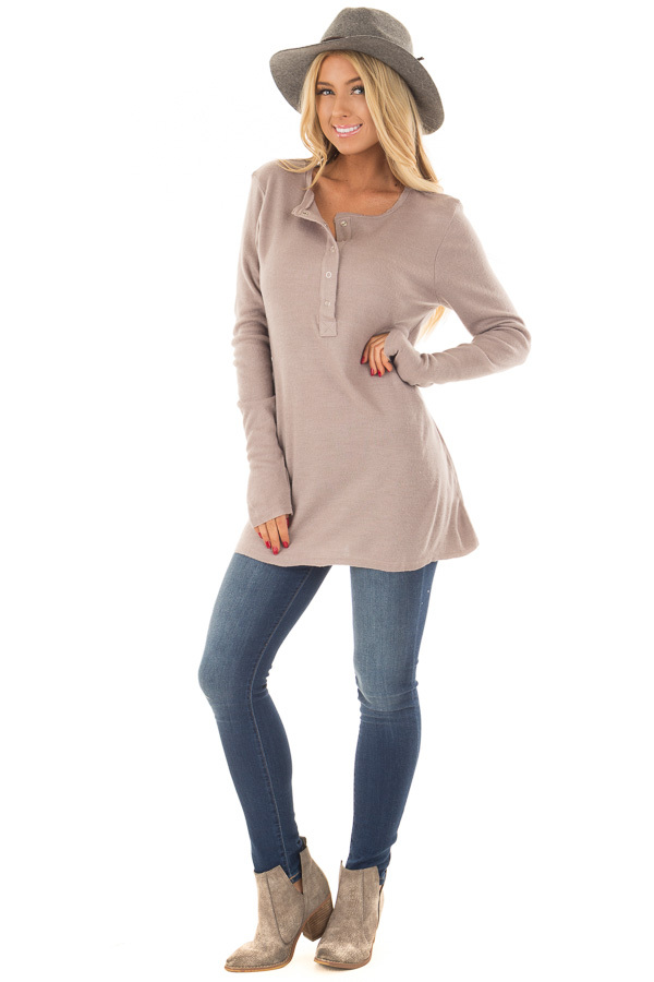 Lilac Half Button Up Top front full body