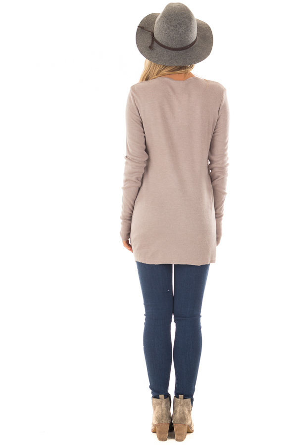 Lilac Half Button Up Top back full body
