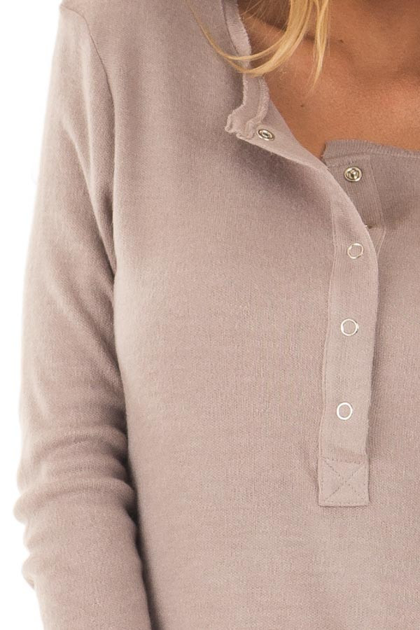 Lilac Half Button Up Top detail