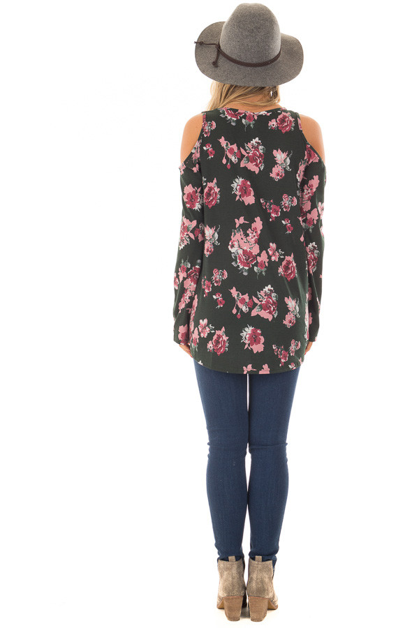 Hunter Green Floral Print Wrap Style Cold Shoulder Top back full body