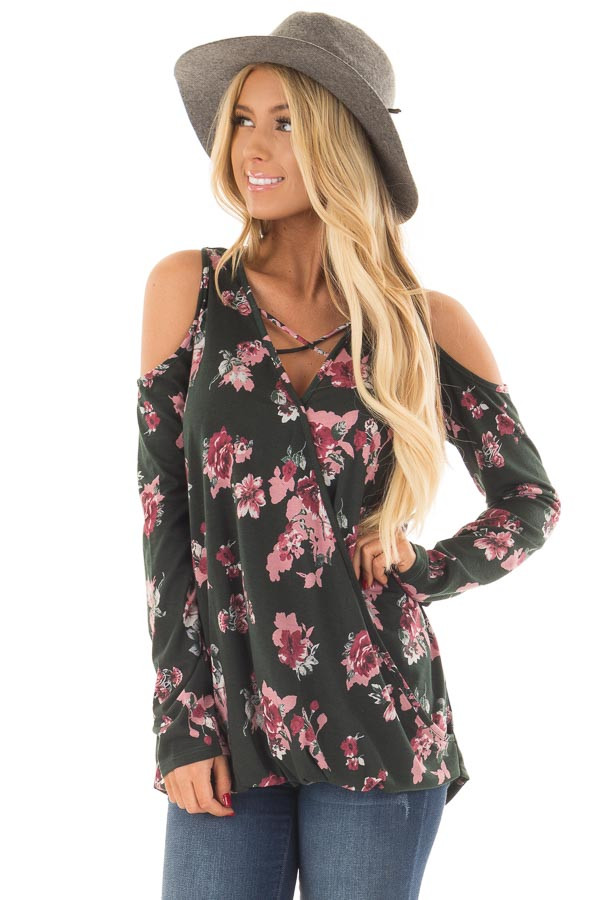 Hunter Green Floral Print Wrap Style Cold Shoulder Top front close up