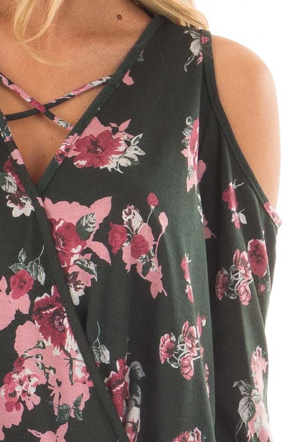 Hunter Green Floral Print Wrap Style Cold Shoulder Top detail