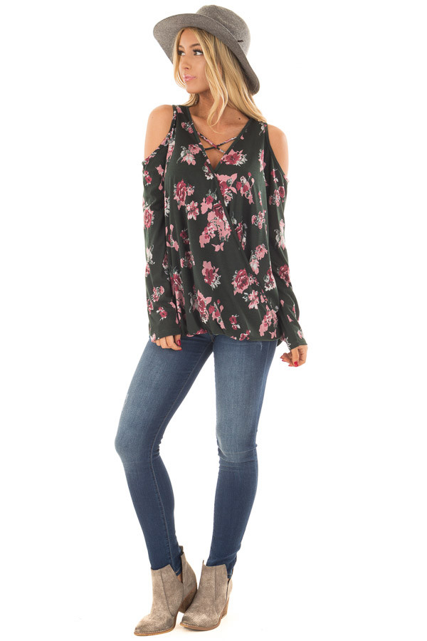 Hunter Green Floral Print Wrap Style Cold Shoulder Top front full body