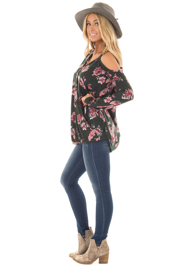 Hunter Green Floral Print Wrap Style Cold Shoulder Top side full body