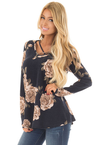 Navy and Dusty Floral Print Criss Cross Neckline Top front close up