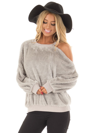 Heather Grey Faux Fur Cold Shoulder Sweater front close up