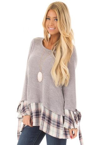 Lilac Grey Top with Plaid Contrast front close up
