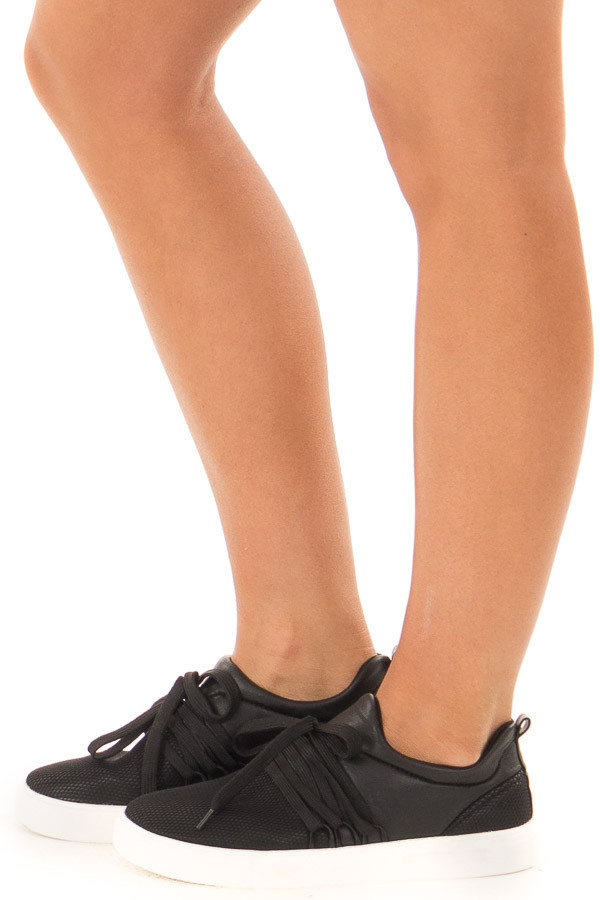 Black Onyx Sneaker with Laces and Textured Details side view