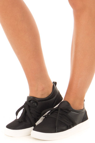 Black Onyx Sneaker with Laces and Textured Details front side view
