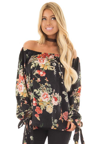 Black Floral Print Off the Shoulder Satin Top front close up