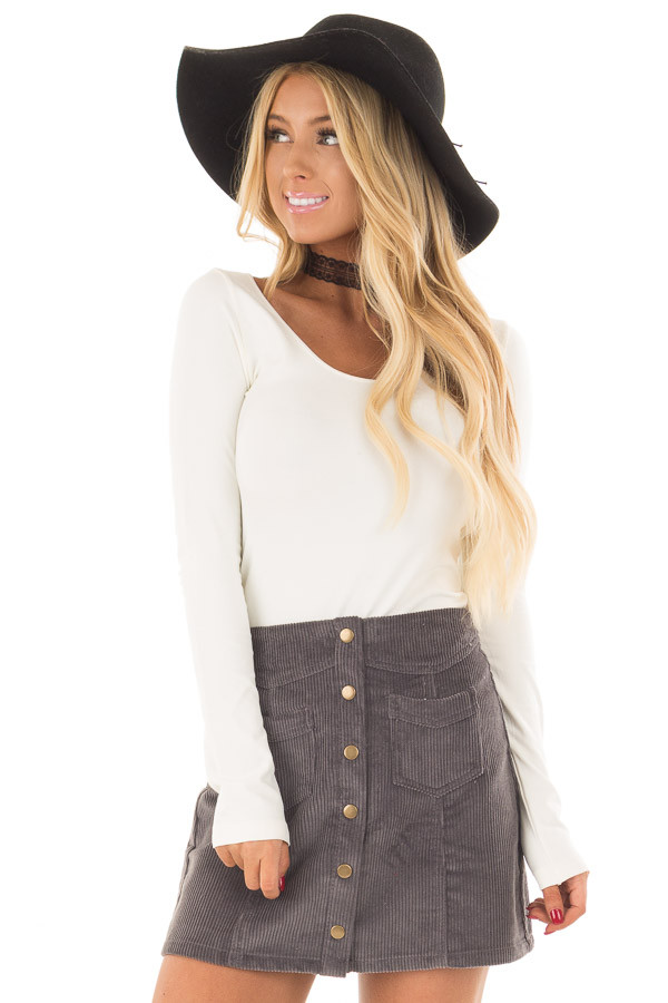 Charcoal Corduroy Mini Skirt front close up