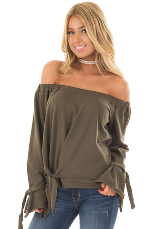 Olive Off the Shoulder Top with Tie Details front close up