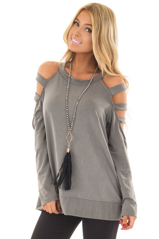 Charcoal Ladder Cold Shoulder Top front close up