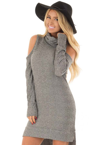 Heather Grey Cold Shoulder Turtle Neck Dress front close up