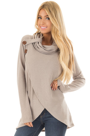 Taupe Cowl Neck Wrap Style Sweater with Button Details front close up