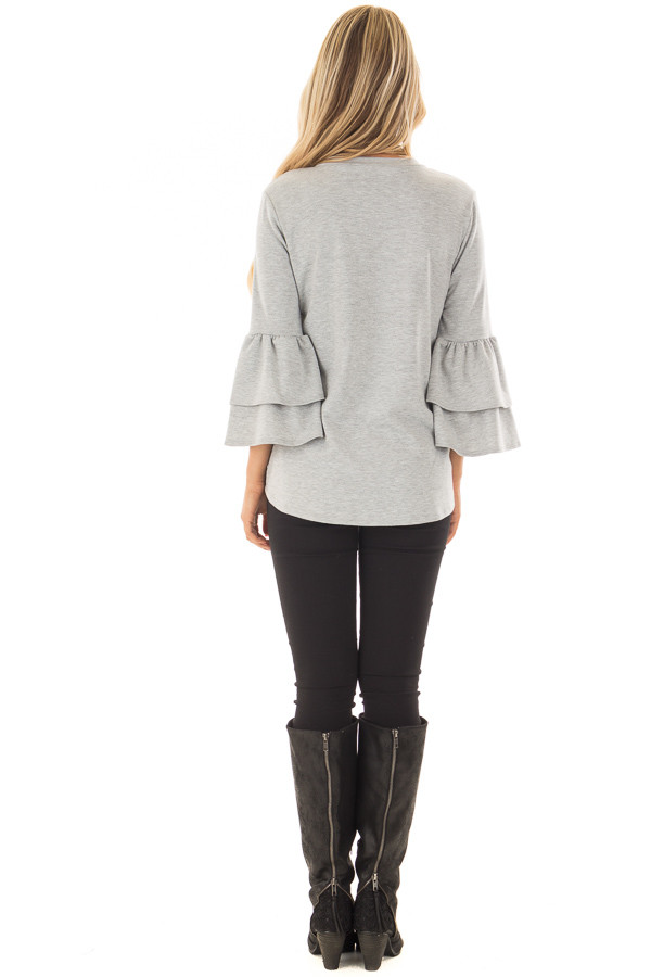 Heather Grey Top with Tiered Bell Sleeves back full body