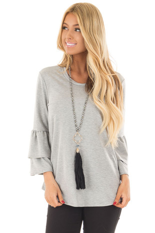 Heather Grey Top with Tiered Bell Sleeves front close up