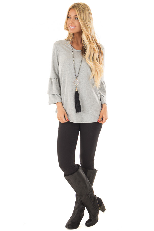 Heather Grey Top with Tiered Bell Sleeves front full body