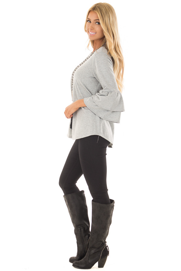 Heather Grey Top with Tiered Bell Sleeves side full body