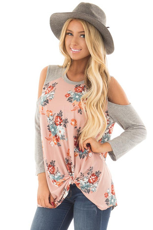 Blush Soft Floral Print Cold Shoulder Top with Front Twist front close up
