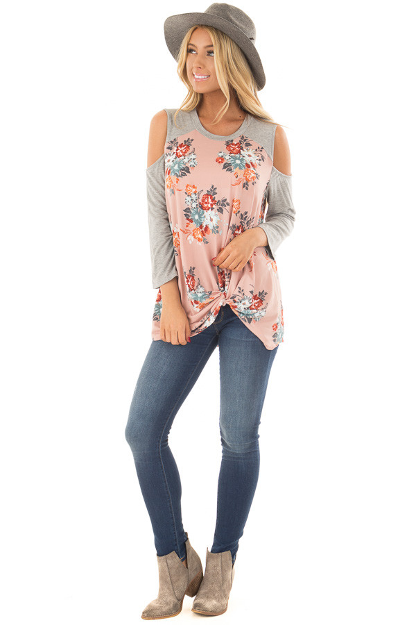Blush Soft Floral Print Cold Shoulder Top with Front Twist front full body