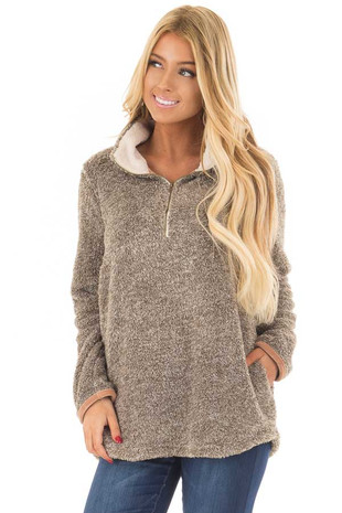 Taupe Two Tone Faux Fur Half Zip Up Sweater front close up