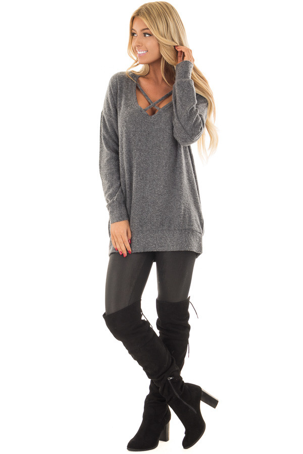 Charcoal Soft Sweater with Strap Detailed Neckline front full body