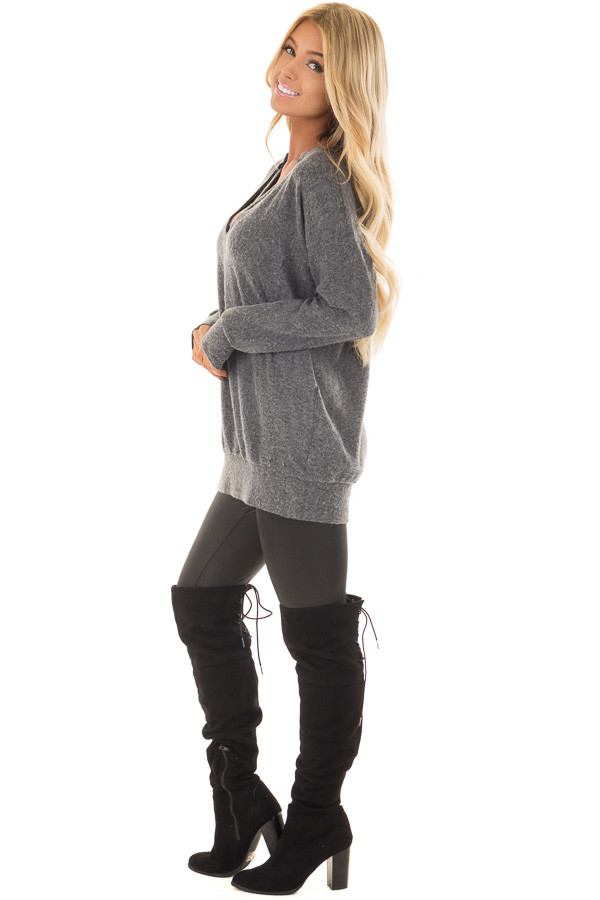 Charcoal Soft Sweater with Strap Detailed Neckline back full body